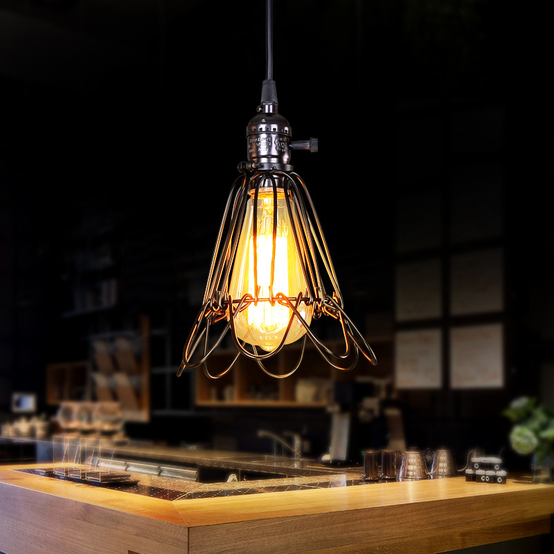 Individuality creative design cage chandelier Northern Europe retro charming iron single light fixtures for dining room bar coloring europe charming london