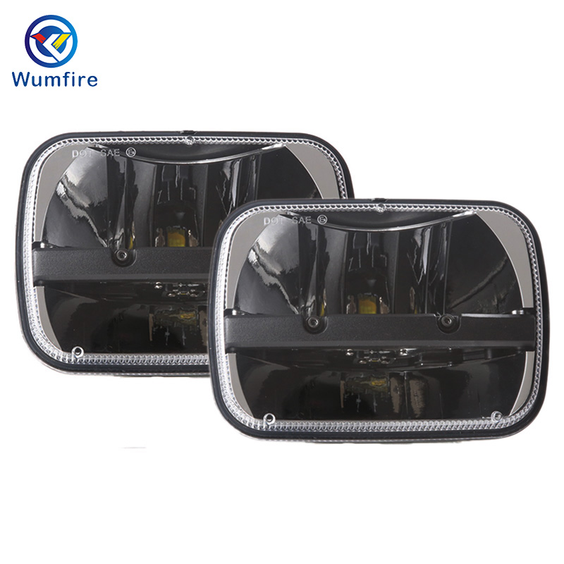 WUMFIRE 2Pcs 5X7 inches Projector LED Sealed Beam Headlight Assembly With Angel Eyes DRL For Jeep Wrangler YJ Cherokee XJ Trucks