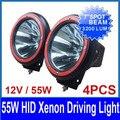 """4 PCS 7 """"12 V 55 W HID Xenon Trabalho Light Condução Offroad Auto SUV ATV 4WD 4x4 Spot/Feixe de Inundação 3400lm IP67 À Prova de Moldura VERMELHA habitação"""