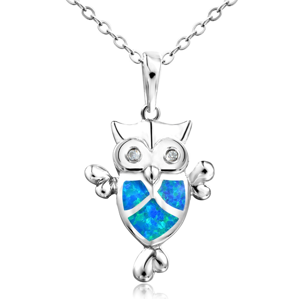 DORMITH real 925 sterling silver necklace created blue opal necklace Owl pendants necklace for women jewelry necklace in Necklaces from Jewelry Accessories
