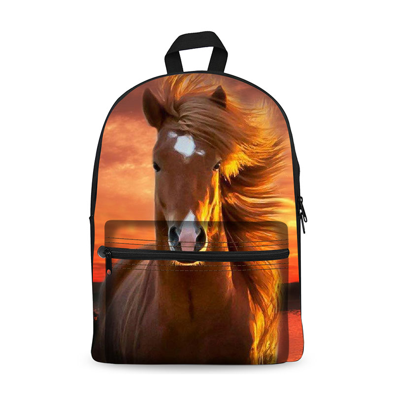 Kawaii Canvas Backpack For Girls Children School Bag Animal Horse Backpack Kids School Backpack