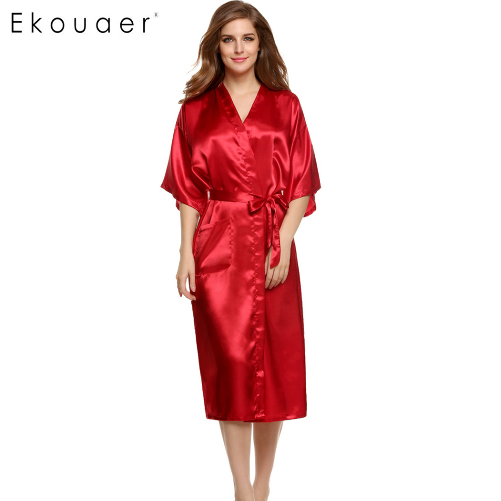 Ekouaer Stylish Women Nightwear Robes Sleepwear Long Bathrobe Night Dress Gown Robe With Belt Nightgown Dressing Silk Pajamas стоимость