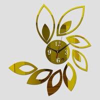 2016มาถึงร้อนห้องเงินบิ๊กดอกไม้คริลิคกระจกผนังนาฬิกาการออกแบบที่ทันสมัยหรูหรา3dนาฬิกาdiy quartzน...