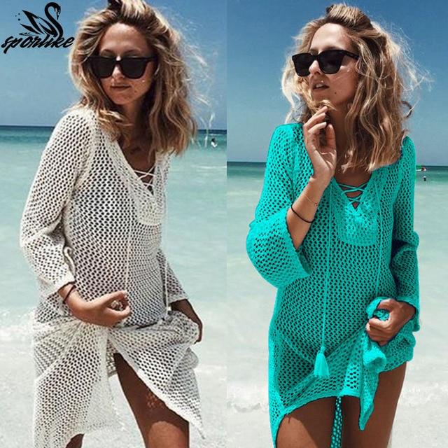 2018 New Beach Cover Up Bikini Crochet Knitted Tassel Tie Beachwear Summer Swimsuit Cover Up Sexy See through Beach Dress