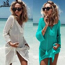 Robe de plage tricotée transparente, Cover Up, pour Bikini, modèle Crochet, avec pompon, pour la plage, Sexy, nouvelle collection, 2018