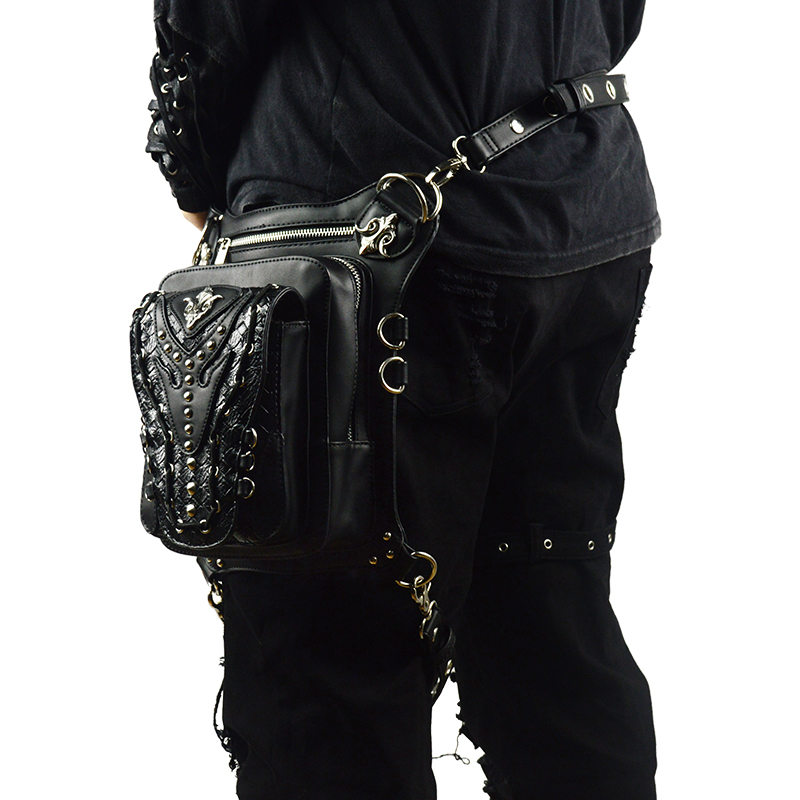 Vintage Rivets Waist Bag Retro Leg Storage Bag Men Women Crossbody Messenger Bag Gothic Black Leather Steampunk Punk Bags in Crossbody Bags from Luggage Bags