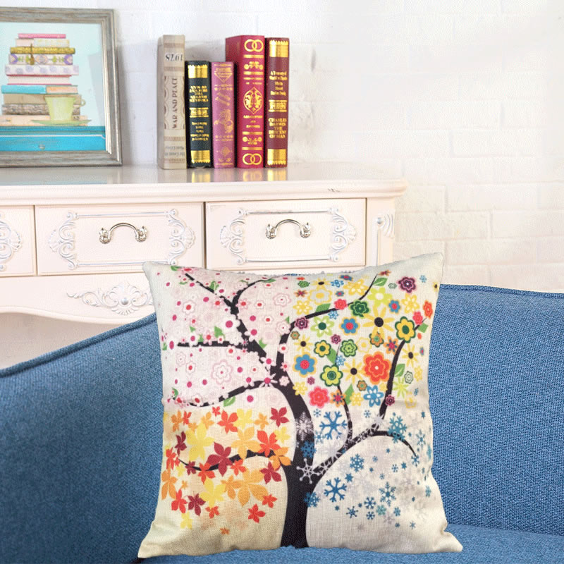 Tree of Life DIY Floral Pillowcase Colorful Cushion Covers Modern Warmth Home Decorative Art Throw Pillow Case Couch House F