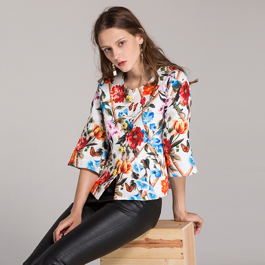 Breasted Abrigo Talle Flores Mujeres Jacquard Corto Moda Streetwear UZxpZv6Xqw