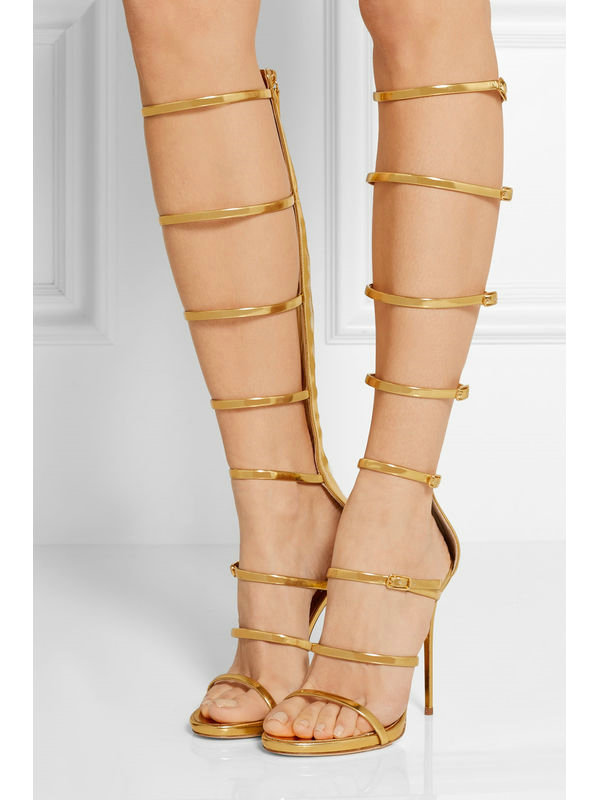 ФОТО Gold Summer Knee High Roman Sandals Sexy Thin High Heeled Shoes Fashion Peep Toe Summer Boots Knee Boots Genuine Leather Sandals