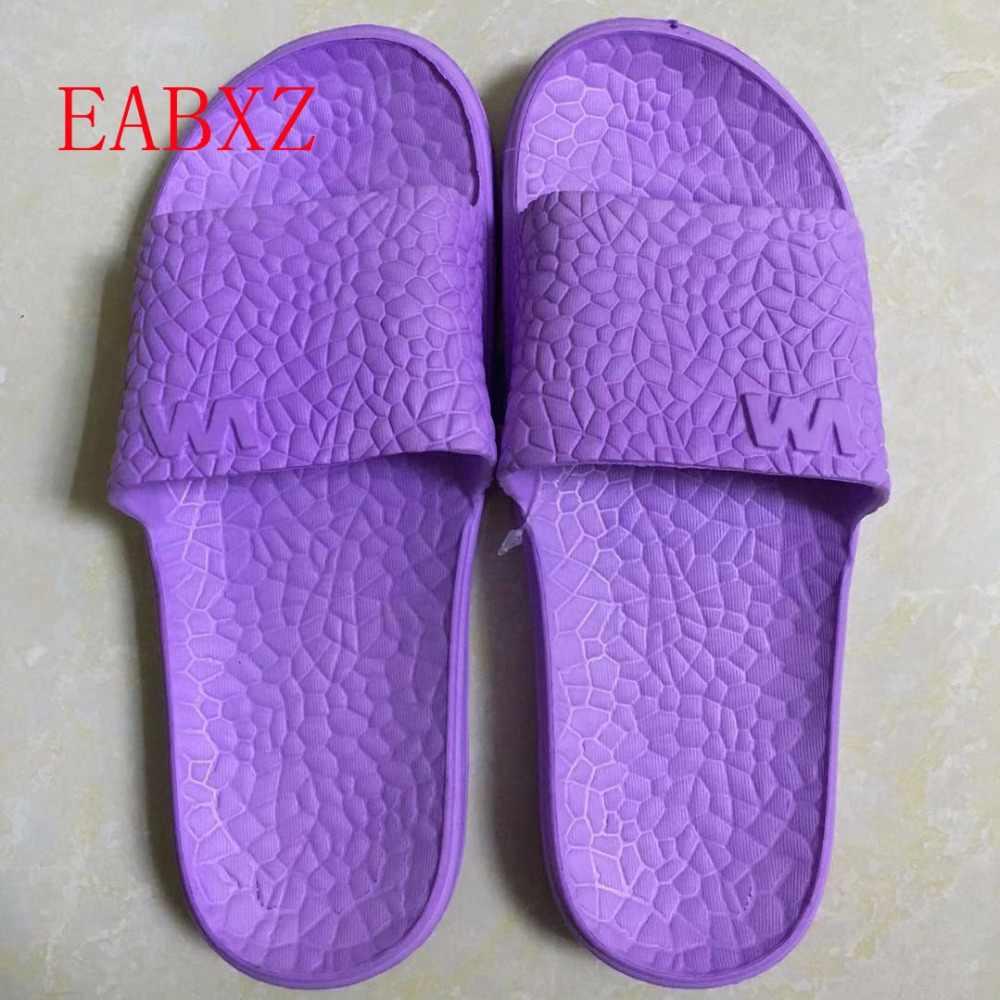 Eabxz обувь Женская обувь на плоской подошвы для ванной, шлепанцы летние сандалии для дома и прогулок; модные тапочки Женские вьетнамки Шлепанцы без задника с открытыми пальцами; zapatos mujer