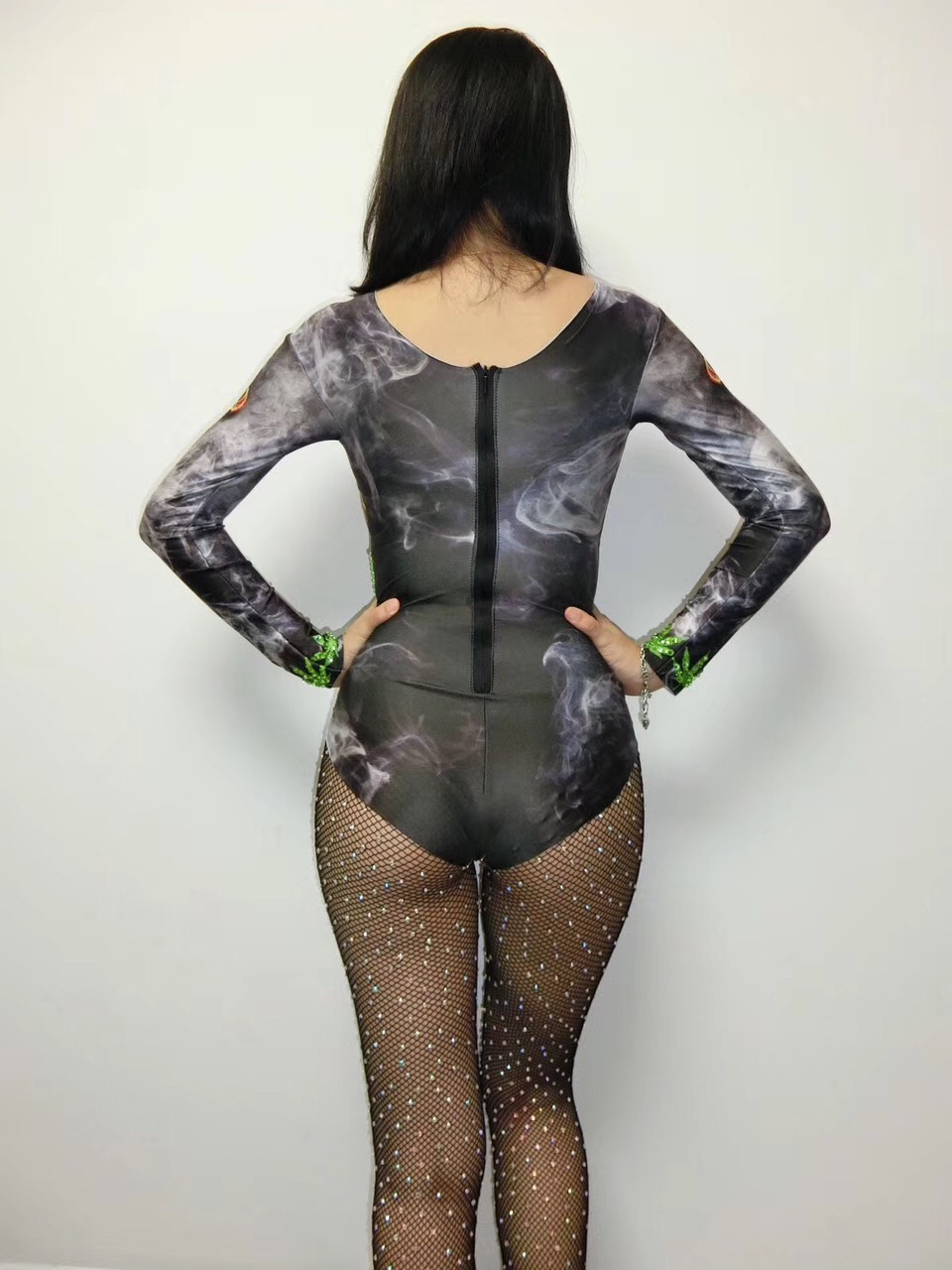 New Street tide women new high fork 3D printing sexy singer Siamese dance team wear wild thin costume party celebration birthday