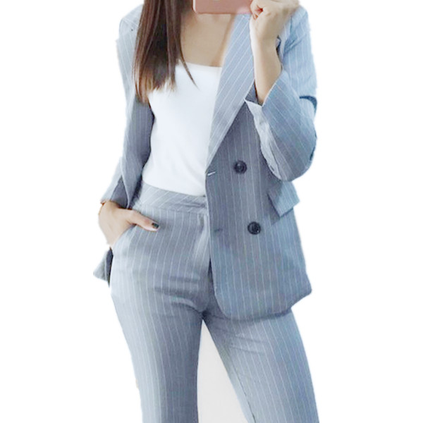 49734f4a9c5 Work Fashion Pant Suits 2 Piece Set for Women Double Breasted Striped Blazer  Jacket   Trouser Office Lady Suit Feminino 2018-in Pant Suits from Women s  ...
