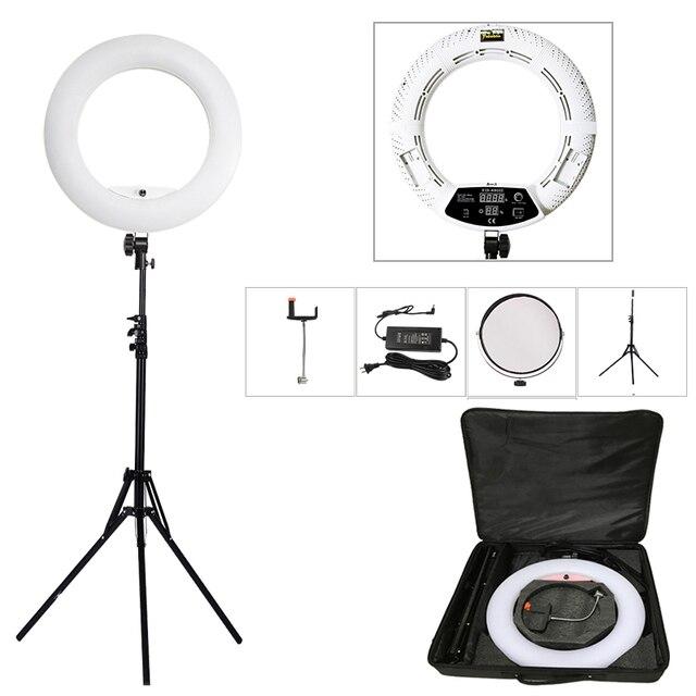 """Yidoblo FD 480II 18 """"写真スタジオ調光対応 led リングランプ 480 led ビデオライトランプ写真照明 + スタンド (2 メートル) + バッグ"""