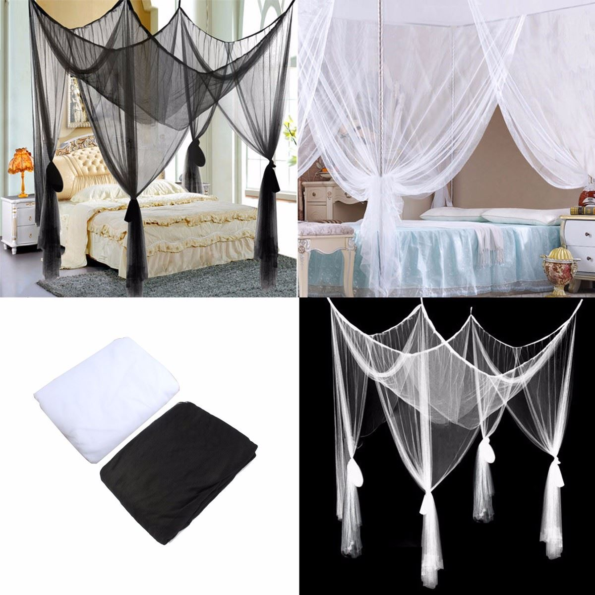 White Mosquito Net 4 Post Poster Bed Canopy Four Corner Mosquito Insect Bug Net Mesh Full King Size nylon polyester Best Price-in Door u0026 Window Grates from ... & White Mosquito Net 4 Post Poster Bed Canopy Four Corner Mosquito ...