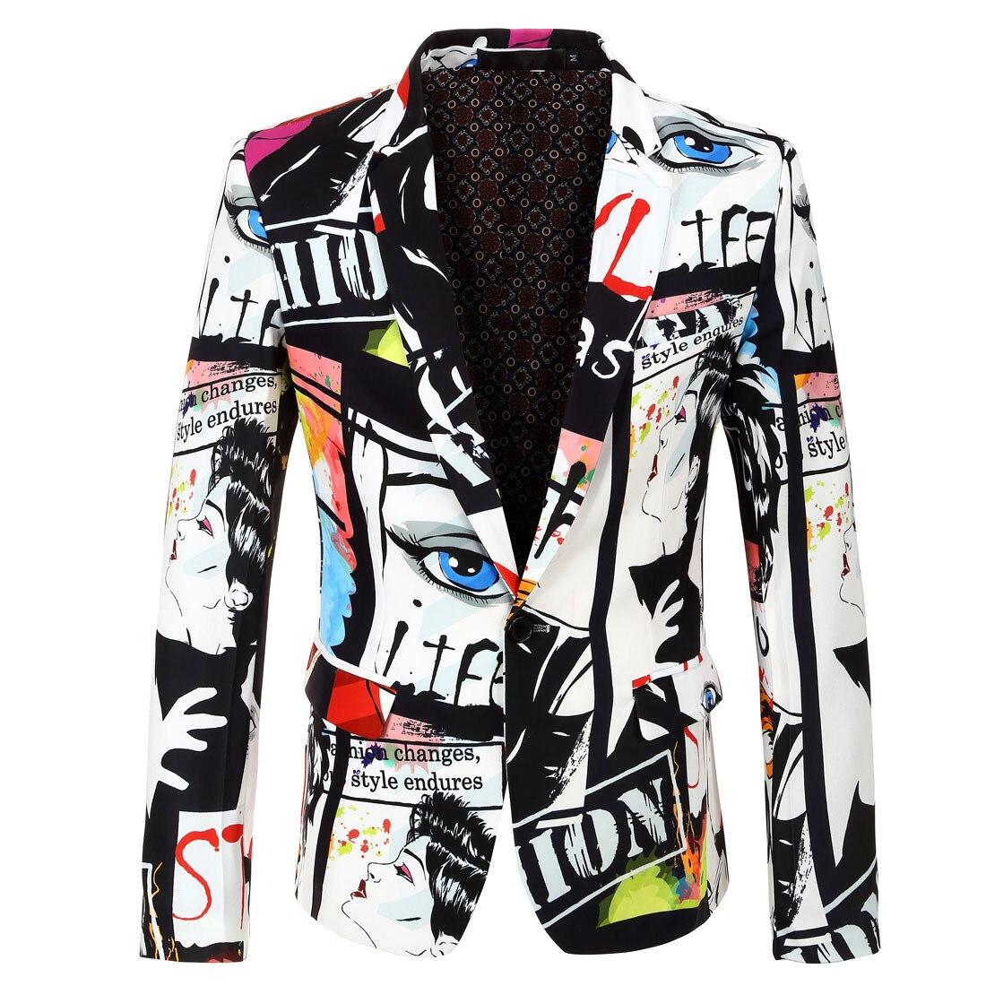 Blazer for Men 2019 Spring Harajuku Printing Casual Blazers Plus Size Graffiti Personality Men's Jacket Fashion Suit Jackets