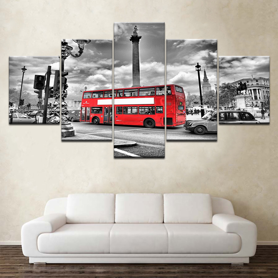 HD Printed Modern Painting On Canvas 5 Panel City Scenery Red Bus Modular Picture Wall Art Home Decoration Posters Frame Bedroom in Painting Calligraphy from Home Garden