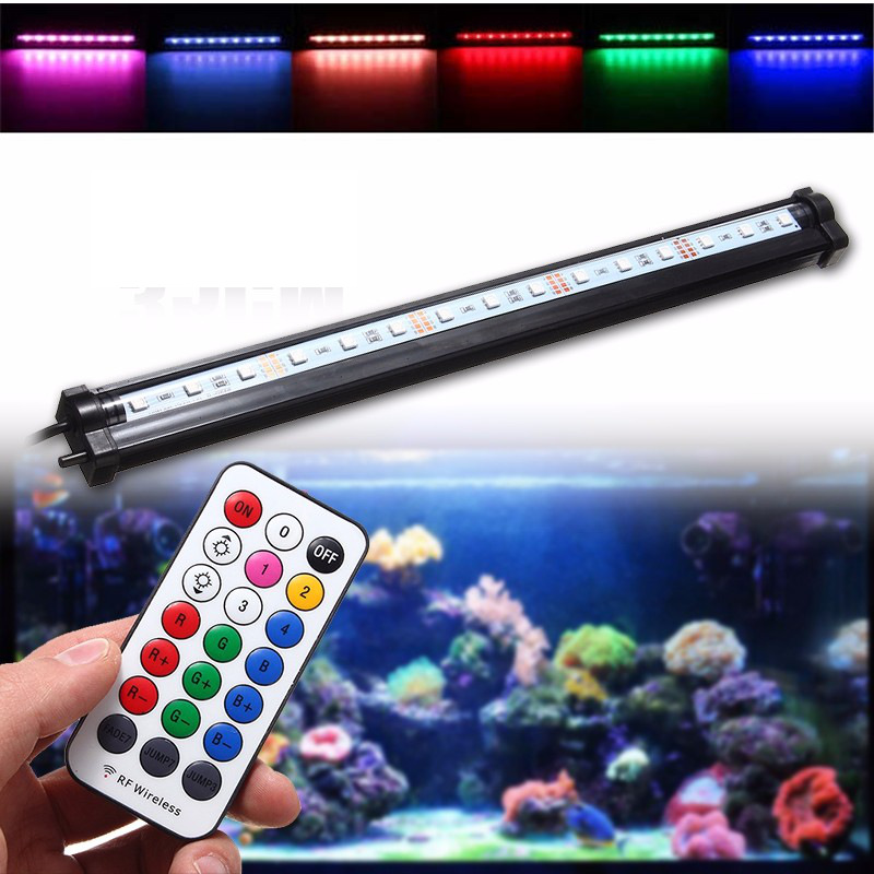 Waterproof LED Light Bulb Tube 25/35/45/55cm 5050SMD Aquarium Fish Tank Lamp Bar Light Lighting RGB Remote Control 220V 20 25 30 31 35 36 40 45 50 60cm rgb 5730 smd led underwater light aquatic coral aquarium sea reef fish tank us eu uk au plug