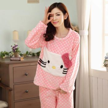 Winter thick flannel pajamas suit women cartoon hello ketty Soft Cotton Pajamas Women Sleepwear Sets Girls Home Nightgown pajamas