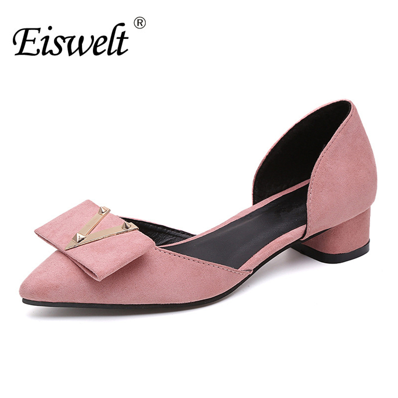 EISWELT Women Shoes Spring Summer Autumn Fashion Comfortable Low Heel Pumps Party Wedding Shoes#ZJF85 eiswelt shoes spring summer fashion rivet flats party pointed flock women shoes wedding shoes glitter flat ladies shoes zjf84