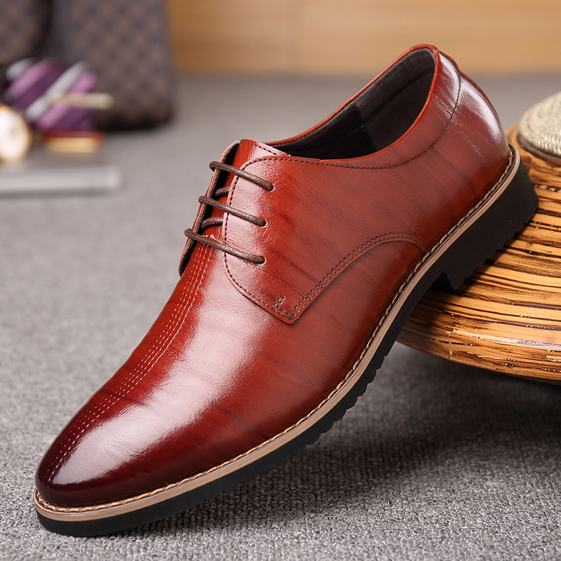 2018 New Black Wine Red Mature Men's Shoes Dress British Youth - Men's Shoes - Photo 2