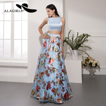 Alagirls Elegant Floral Print Prom Dress 2019 New Design A Line Evening Backless Party 2-Piece Formal Woman Dresses