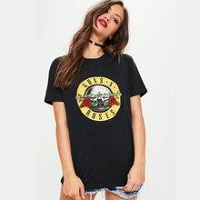 100% Cotton guns n roses women t shirt tops Womens tattoo Tshirt Woman clothes loose big size Tee Shirts Harajuku Vogue T-shirt