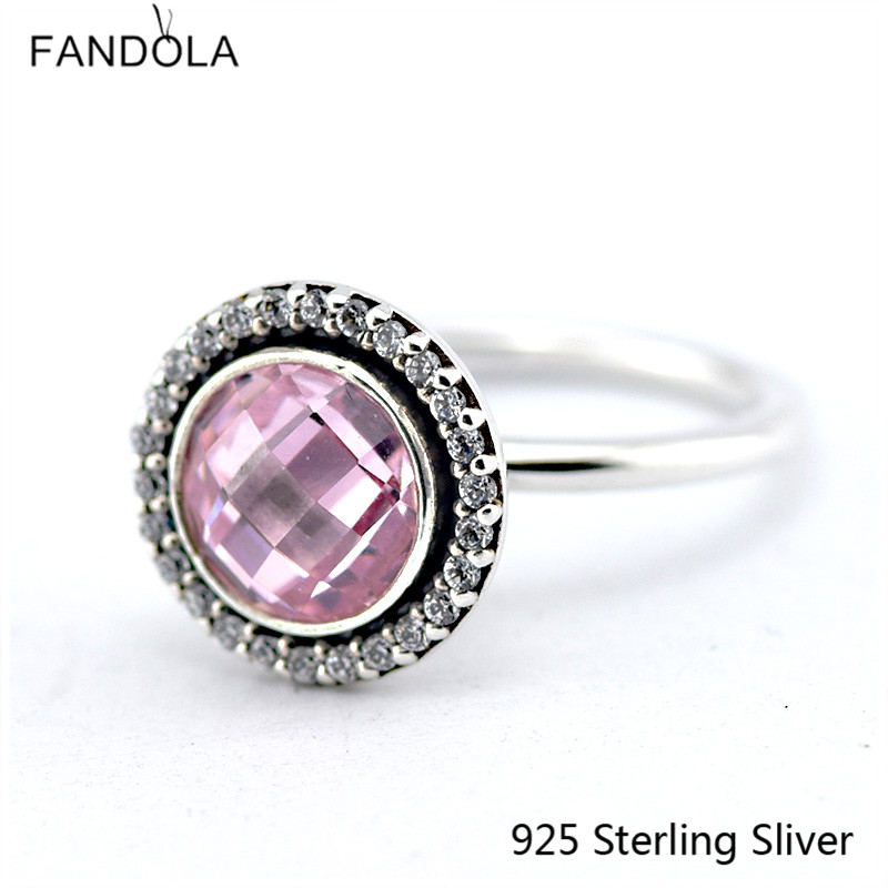 Authentic 925 Sterling Silver Rings European Style Brilliant Legacy, Pink Jewelry For Women Original Fashion Charms CKK