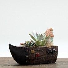 Creative Retro Resin Succulent Planter Flowerpot Plant Pot Mini Bonsai Cactus Balcony Home Office Desktop Wedding Birthday Gift