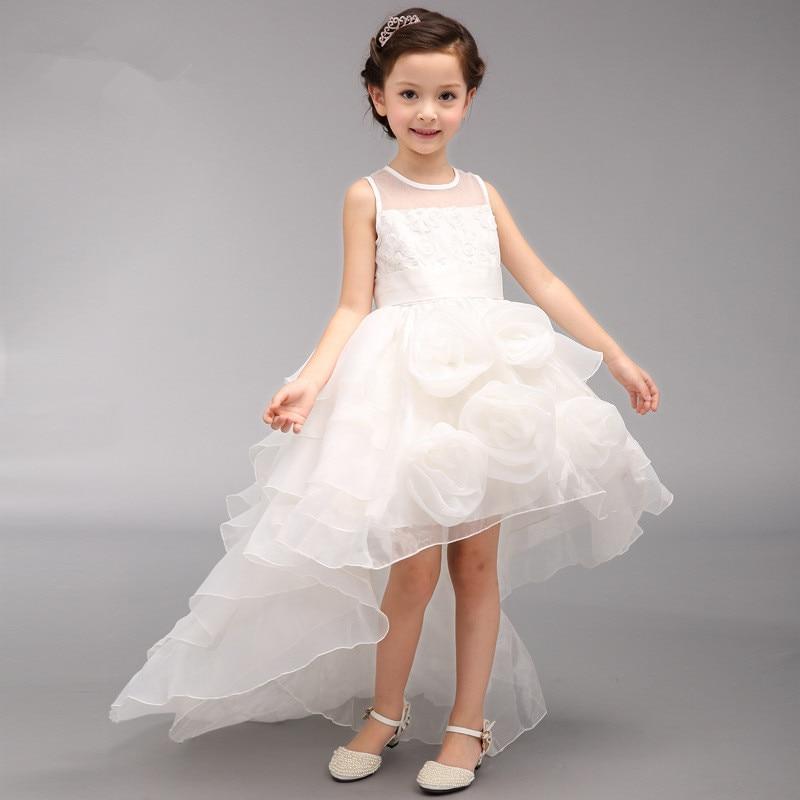 girls flower girl dress for wedding party fancy ball white