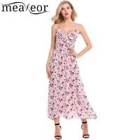 Meaneor 2018 Women Spaghetti Strap Print Summer Dress Front Cross V Neck Ruffle Brim A Line Pleated Hem Chiffon Maxi Beach Dress