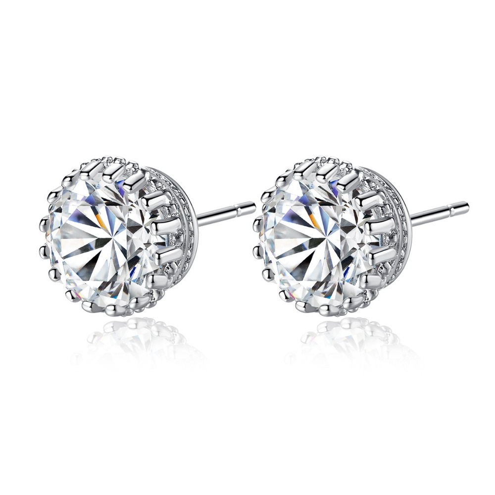 High Quality Multi Prong Single Round Stud Earring for Girl Women 8mm 2ct AAA Cubic Zircoina Crystal charm Wedding Party Jewelry