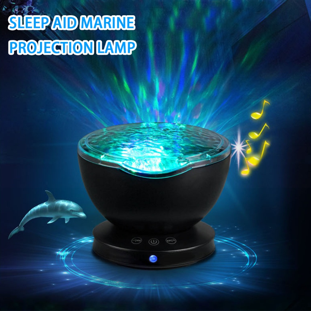 Starry Sky Ocean Wave Projector With Music Player Novelty 7 Color Changing Romantic Led USB Aurora Lamp Creative LED Night Light