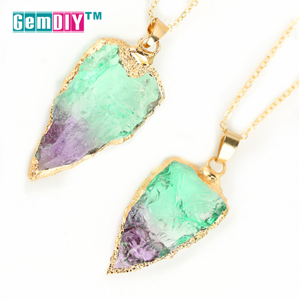 Natural Gem stone Necklace Pendant in Graduated Color Goled plated Pendant Necklace fashion Jewelry Component for women