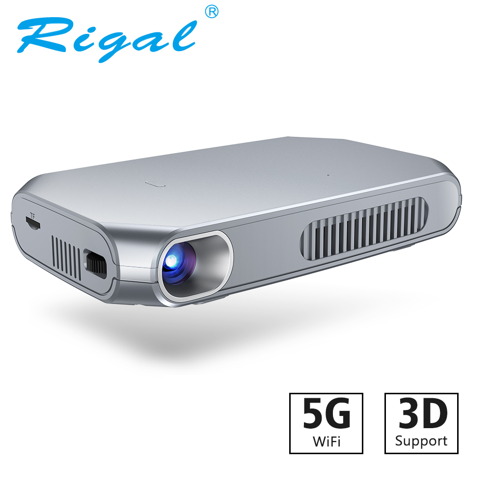 Rigal RD603 mini projecteur dlp Android WiFi led bluetooth Proyector Pico Poche HD Portable Obturateur Actif 3D Projecteur 4200 mAh