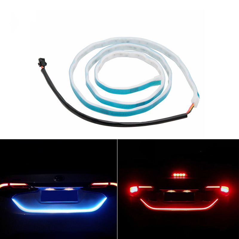 Ice Blue Red Yellow White LED Strip Rear Trunk Tail Light Multicolor Car Brake Turn Signal Flow Reverse Leds DRL Warning Lights keyecu 60 tailgate led strip light bar truck reverse brake turn signal tail red white