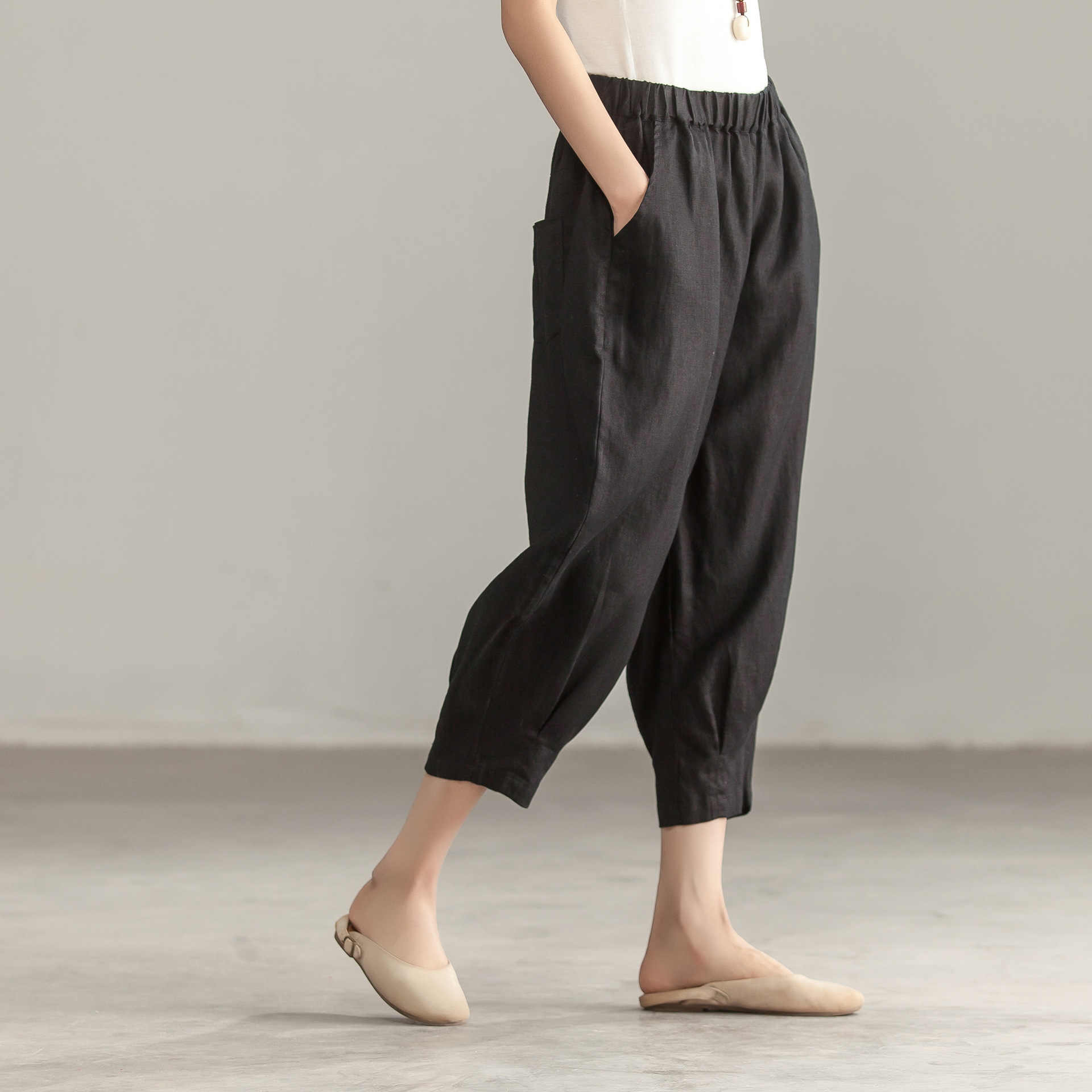Для женщин лето эластичный пояс льняные брюки женские до середины икры Длина