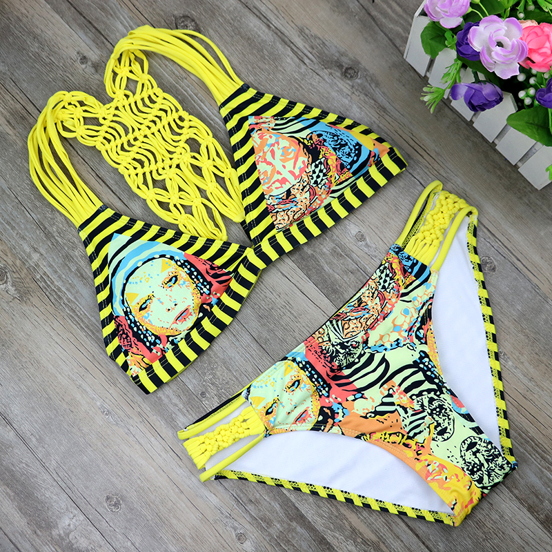 2017 Hot Swimwear Women Handmade Crochet Bikini Set Sexy Bandage Summer Bathing Suit Push Up Brazilian Biquinis Femme 2465 malcayang fog lights for polo 12v 55w h11 1 set car styling halogen for lexus rx350 awd 2009 2013
