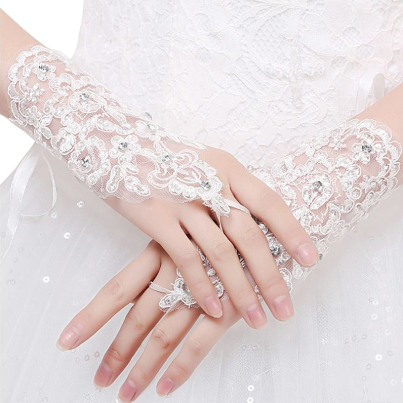 White Lace Glove Wedding-Accessories Rhinestone Fingerless Elegant Short Paragraph Women