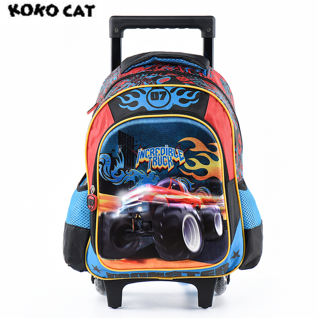 d43ceac51f Cartoon 3D Kids Children School Trolley Bag Racing Car Bags Boys Bookbag  School Trolley Bag for