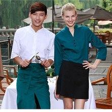 (5 pcs get 10% off, 10 get apron)Man/woman coffee shop restaurant hotel bakery shop waiter shirt uniform work ware work clothes