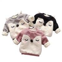 Boys Baby Dziewczyny Cartoon Fox Bluzy Jesień Zima Ciepły Długi Rękaw Bluza Polarowa Odzież dziecięca