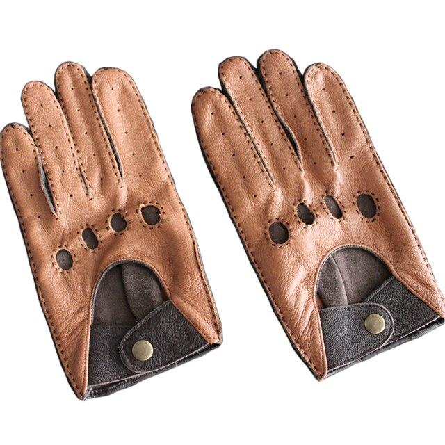 Модные осень-зима овчины Для мужчин для отдыха из натуральной кожи перчатки наручные дышащий овчины водительские перчатки Бесплатная доставка