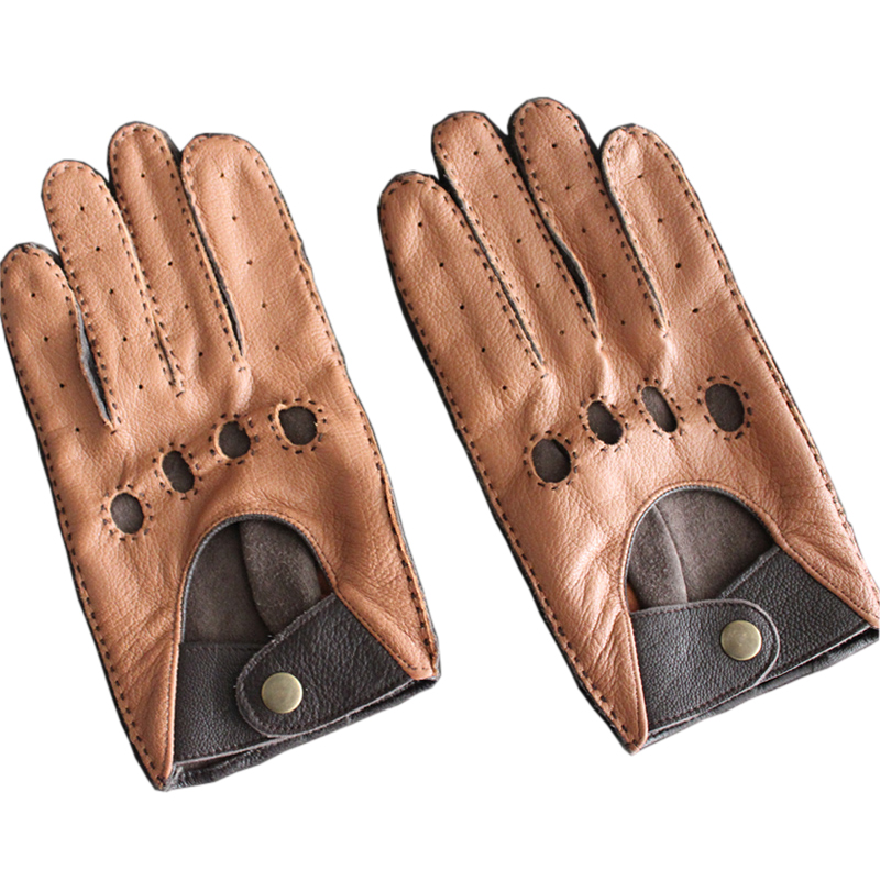 Fashion Autumn And Winter Lambskin Men Leisure Genuine Leather Gloves Wrist Breathable Sheepskin Driving Glove Free Shipping