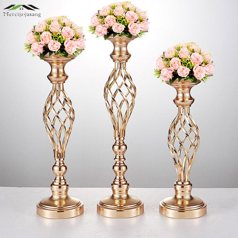 10pcs Lot Flowers Vases Candle Holders Road Lead Table Centerpiece Metal Gold Stand Pillar Candlestick