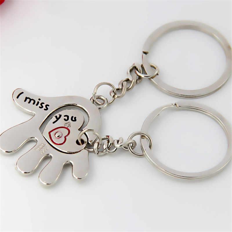 Новинка креативный парный брелок для влюбленных цепочка для ключей в форме сердца кольцо Повседневная брелок на День Святого Валентина Подарок на годовщину свадьбы сувенир