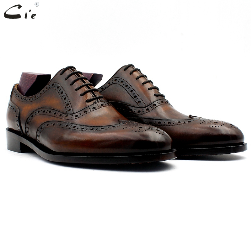 cie oxford patina brown brogues dress shoe genuine calf leather outsole men leather work shoe handmade
