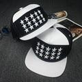 Белый кожаный 5 панель молодых мужчин полный звезды вышивка snapback шапки для мальчиков и девочек