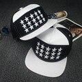 Branco pu couro 5 painel homens jovens estrelas completa bordado snapback caps para meninos e meninas