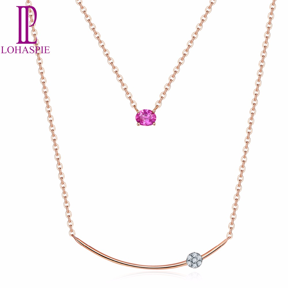 Lohaspie Solid 18K Rose Gold Natural Gemstone Ruby & Diamonds Double Chain Necklace Fine Diamond-Jewelry For Women's Gift 2017 yoursfs dangle earrings with long chain austria crystal jewelry gift 18k rose gold plated
