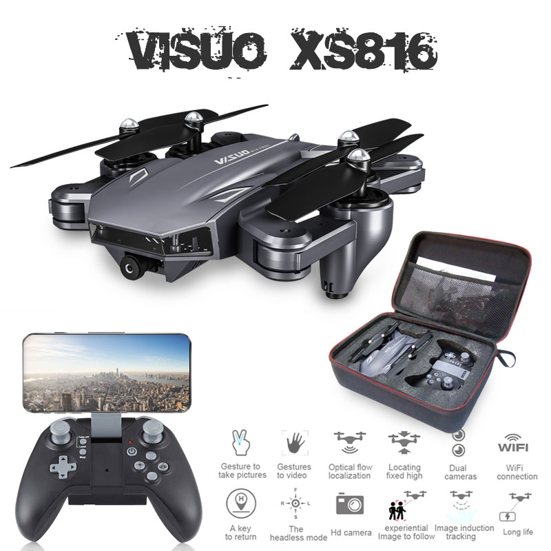 Visuo XS816 Optical Flow Positioning Rc Quadcopter With Dual Camera 2mp Wifi FPV Drone Gesture Control Dron Vs XS809HW XS809S